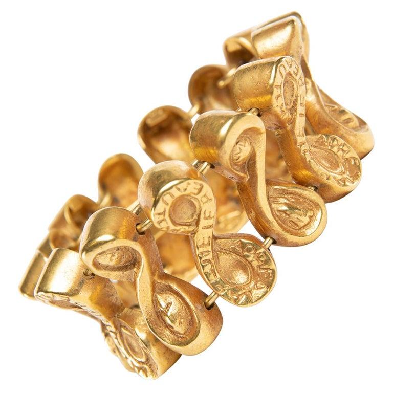 Après Le Pluie Le Beau Temps, Semi-Rigid Bracelet in Gilded Bronze, Line Vautrin For Sale