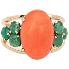 Apricot Coral Emerald Ring Vintage 18 Karat Yellow Gold Estate Fine Jewelry