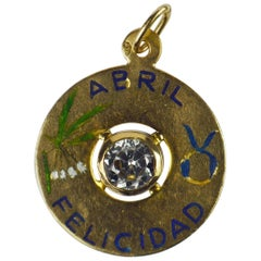 April Happiness Yellow Gold Enamel Spinel Taurus Zodiac Birthstone Charm Pendant