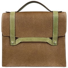 APRIL in PARIS Brown & Olive Textured Leather Bag