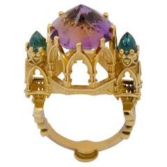 Apse of Sainte-Chapelle Ring in 9Kt Gold, Ametrine, Blue Topaz & Yellow Sapphire