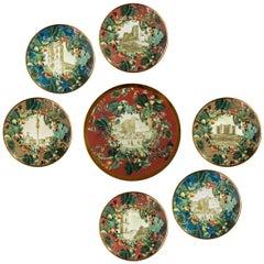 Apulia, Seven Contemporary Porcelain Dessert Plates with Decorative Design