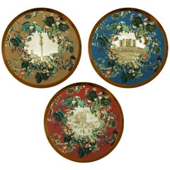 Apulia, Three Contemporary Porcelain Platters with Decorative Design