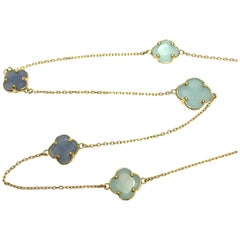 Aqauamarine and Lapis Flower Necklace