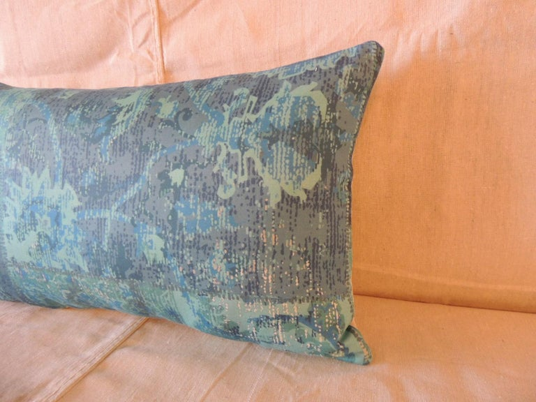 Aqua and blue satin cotton modern lumbar decorative pillow. Light grey cotton backing. Back seam at bottom of the pillow. Printed floral patchwork style pattern. Decorative pillow handcrafted in Portugal. Stitched by hand closure with