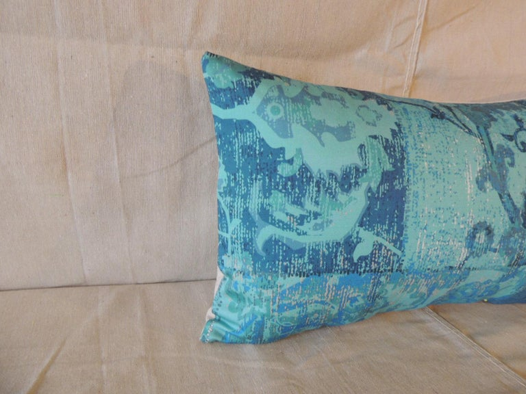 Aqua and blue satin cotton modern Lumbar decorative pillow.