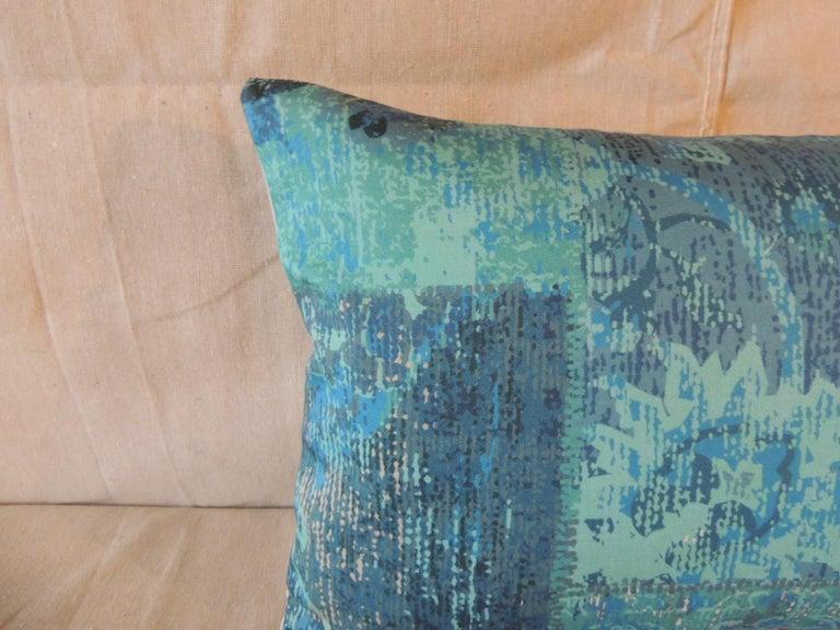 Country Aqua and Blue Satin Cotton Modern Lumbar Decorative Pillow For Sale