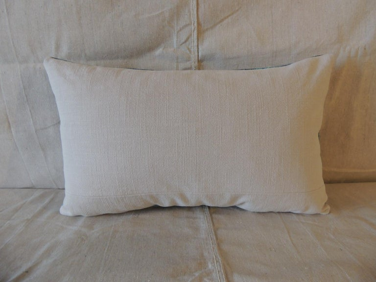 Hand-Crafted Aqua and Blue Satin Cotton Modern Lumbar Decorative Pillow For Sale