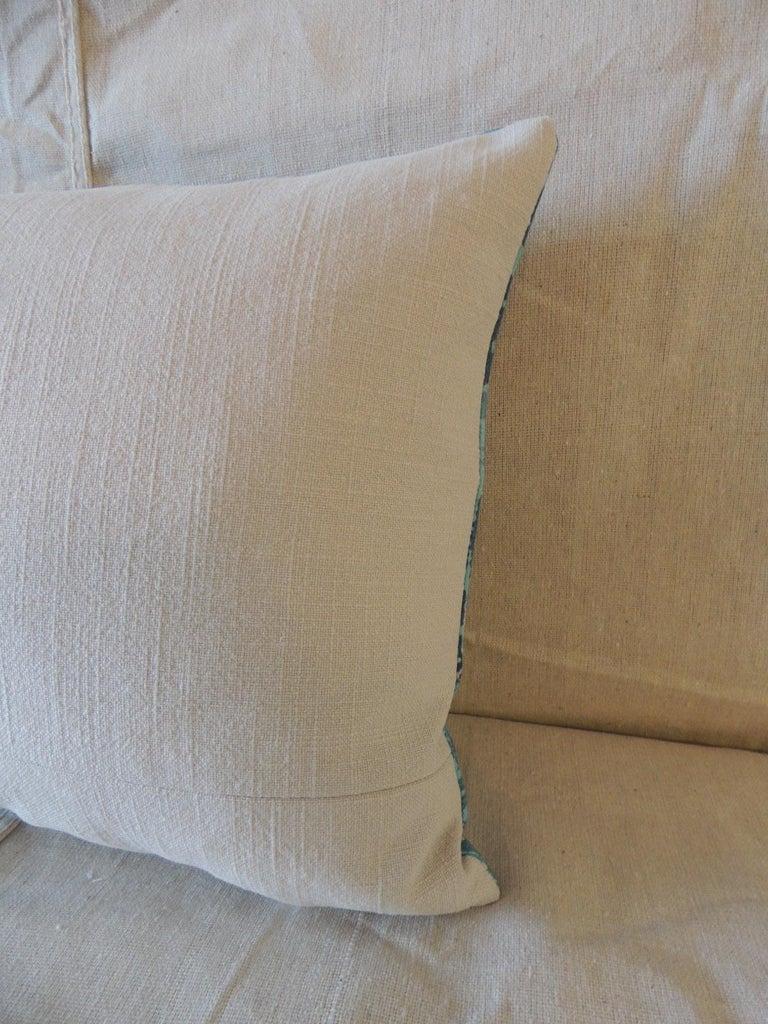 Hand-Crafted Aqua and Blue Satin Cotton Modern Lumbar Decorative Pillow For Sale
