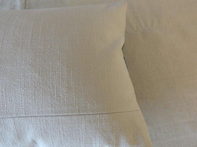 Contemporary Aqua and Blue Satin Cotton Modern Lumbar Decorative Pillow For Sale