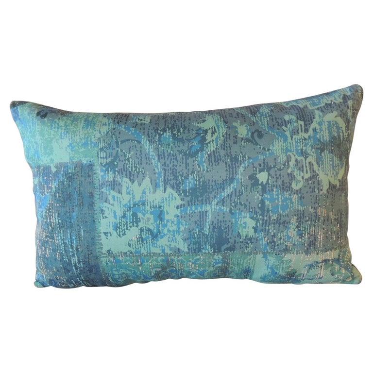 Aqua and Blue Satin Cotton Modern Lumbar Decorative Pillow For Sale