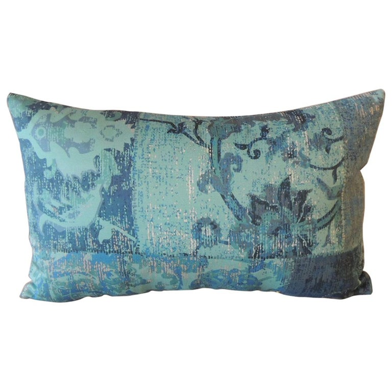 Aqua and Blue Satin Cotton Modern Lumbar Decorative Pillow For Sale