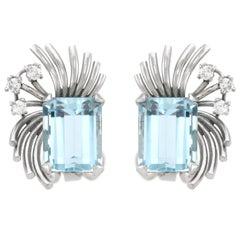 14.00 Carat Aquamarine and Diamond Clip on Earrings