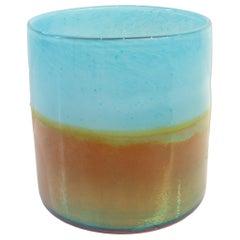 Aqua and Gold Glass Vase