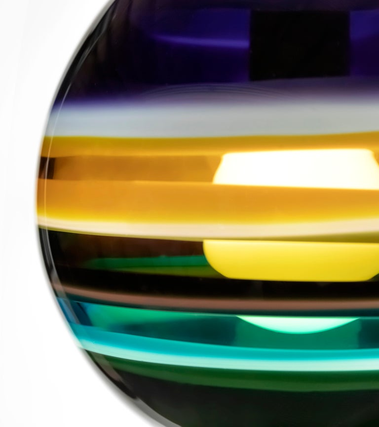 Aqua Banded Orb by Siemon & Salazar In New Condition For Sale In Santa Ana, CA
