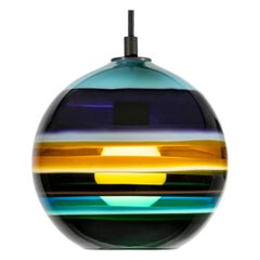Aqua Banded Orb by Siemon & Salazar, Blue Glass Pendant Lighting