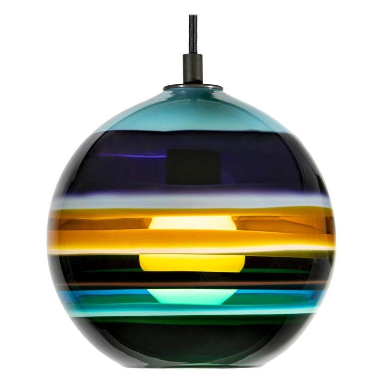 Aqua Banded Orb by Siemon & Salazar For Sale