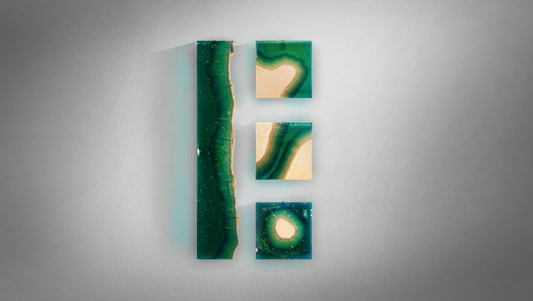 Modern Aqua Blocks Contemporary Wall Sculpture by Eduard Locota, Acrylic Glass & Marble For Sale