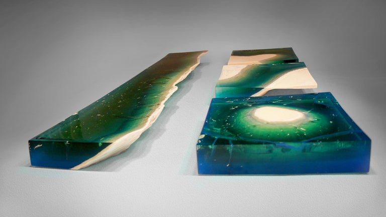 Cast Aqua Blocks Contemporary Wall Sculpture by Eduard Locota, Acrylic Glass & Marble For Sale