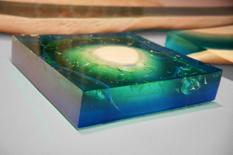 Romanian Aqua Blocks Contemporary Wall Sculpture by Eduard Locota, Acrylic Glass & Marble For Sale
