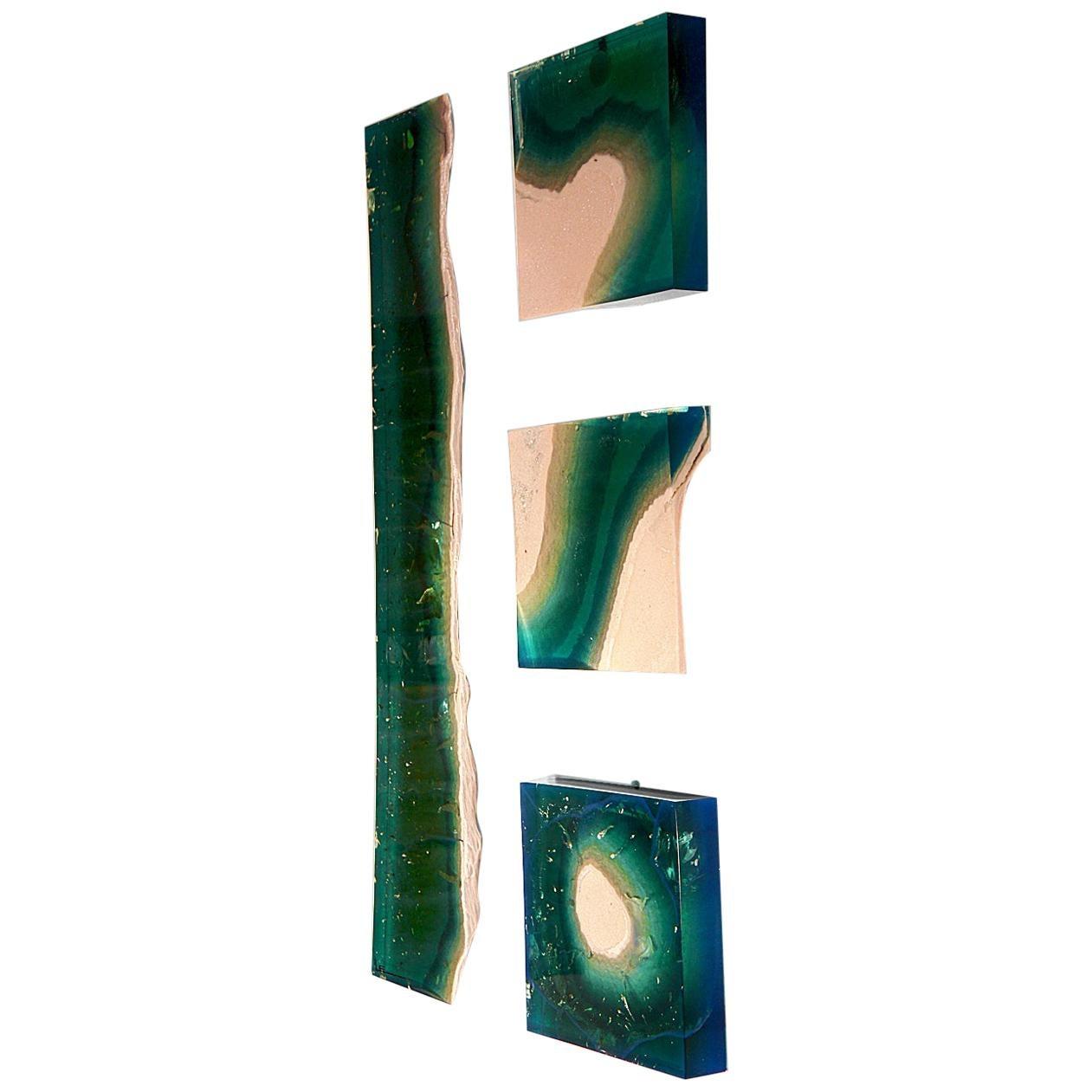 Aqua Blocks Contemporary Wall Sculpture by Eduard Locota, Acrylic Glass & Marble