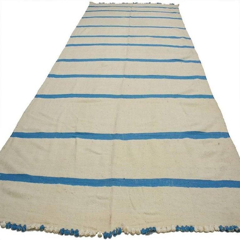 Kilim Rug Cream: Aqua Blue And Cream Vintage Berber Moroccan Kilim Rug With