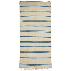 Aqua Blue and Cream Vintage Berber Moroccan Kilim Rug with Stripes