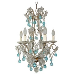 Aqua Blue French Maison Bagues Style Beaded Crystal Prisms & Flowers Chandelier