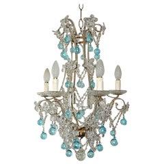 Aqua Blue French Maison Baguès Style Beaded Crystal Prisms & Flowers Chandelier