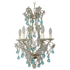 Aqua Blue French Maison Baguès Style Beaded Crystal Prisms & Flowers Chandelier