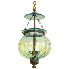 Aqua Blue Melon Form Glass Three Light Lantern, Belgian, circa 1870