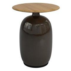 Aqua Ceramic Anthracite Side Table with Teak Top