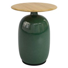 Aqua Ceramic Green or SIde Table with Teak Top