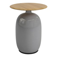 Aqua Ceramic Light Grey Side Table with Teak Top