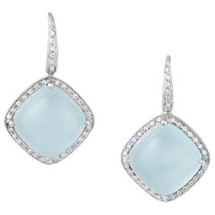 Aqua Chalcedony and Diamond Drop Earrings