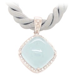 Aqua Chalcedony and Diamond White Gold Pendant Necklace