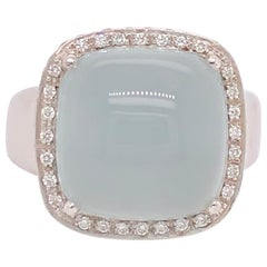 Aqua Chalcedony Diamond White Gold Ring