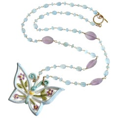 Aqua Chalcedony Matte Amethyst Reticulated Ceramic Butterfly Pendant Necklace