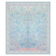 Aqua, Coral & Pink Rose Handloomed Tree of Immortality Pashmina or Bed Coverlet