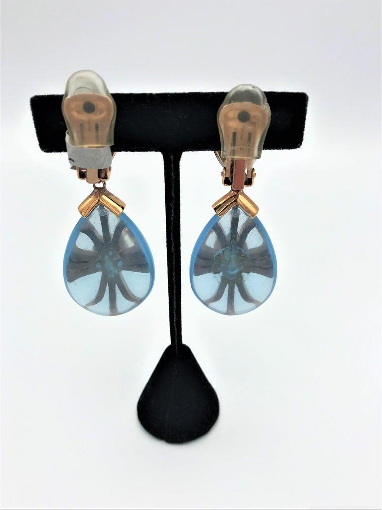 Round Cut Aqua drop ear clip