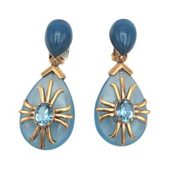 """Aqua drop ear clip """"Made in Italy"""" Crystal with gold plated 1980s"""