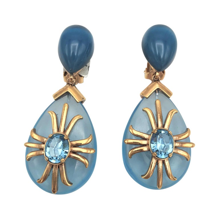 """Aqua drop ear clip """"Made in Italy"""" Crystal with gold plated 1980s For Sale"""