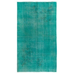Aqua Green & Blue Overdyed Vintage Turkish Rug, Handmade Carpet