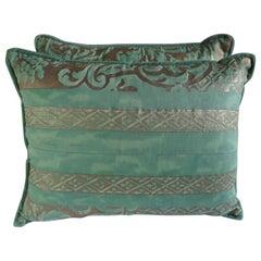 Aqua Green Fortuny Pillows, a Pair