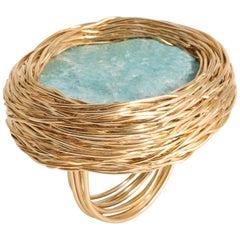 Aqua Green Raw Amazonite Statement Cocktail Ring by Sheila Westera London