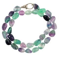 Aqua, Lavender, Clear Stone Necklace
