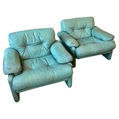 Aqua Leather Lounge Chairs by Scarpa for B&B Italia, 1970's