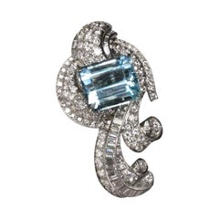 Aqua Marine on Art Deco Diamond Platinum Brooch