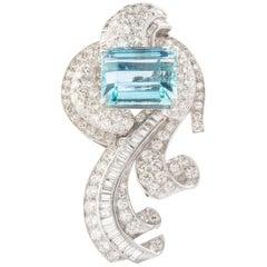 Aquamarine on Art Deco Diamond Platinum Brooch
