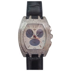 Aqua Master Genuine Diamond Watch Stainless Steel Black Leather Band